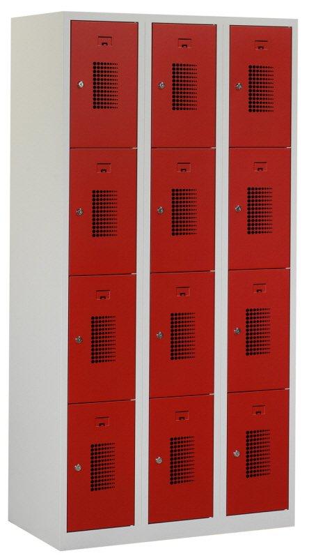Premium locker 90cm breed, 3-koloms, 12-deurs