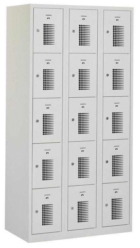 Premium locker 90cm breed, 3-koloms, 15-deurs