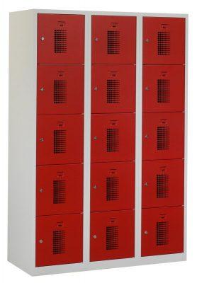 Premium locker 40cm breed, 3-koloms, 15-deurs