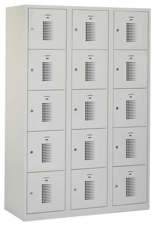 Premium locker 120cm breed, 3-koloms, 15-deurs