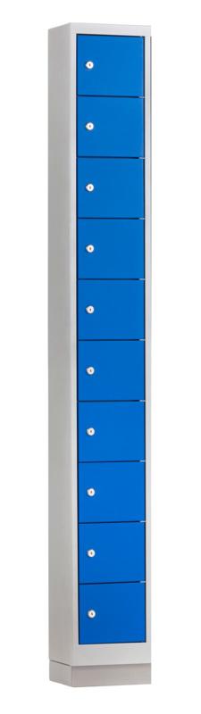 Mini locker 24cm breed, 1-koloms, 10-deurs