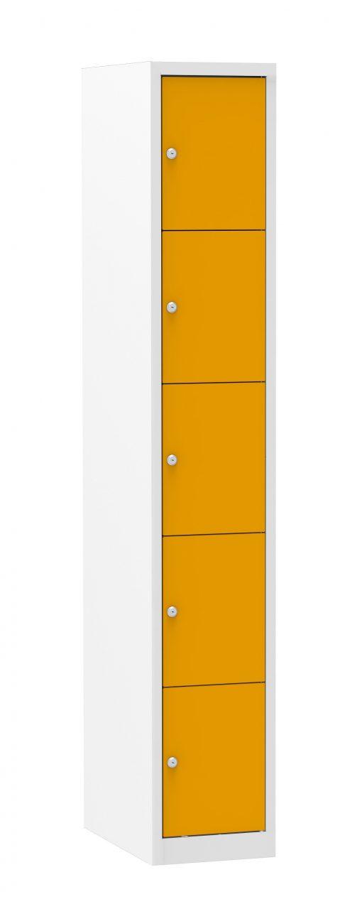 Multicolor locker kast 30cm. 1 kolom 5 deuren
