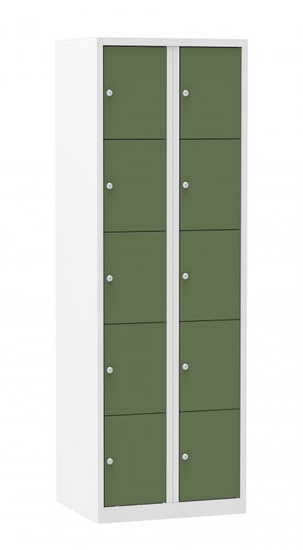 Multicolor locker kast 60cm. 2 kolommen 10 deuren