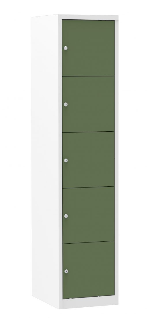 Multicolor locker kast 40cm. 1 kolom 5 deuren