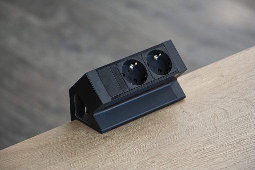 Powerdock 2 x 230V zwart