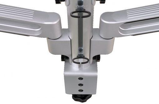 Robuust uitgevoerde monitorarm met 2 individueel instelbare armen. Optimaal instelbaar voor een ergonomisch verantwoorde werkhouding. Maximale draagkracht 25 kg.